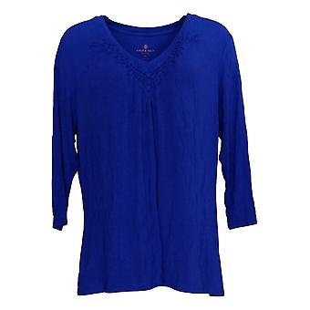 Laurie Felt Women's Top Knit Tricá V-Neck Long-Sleeve Top Azul A352674