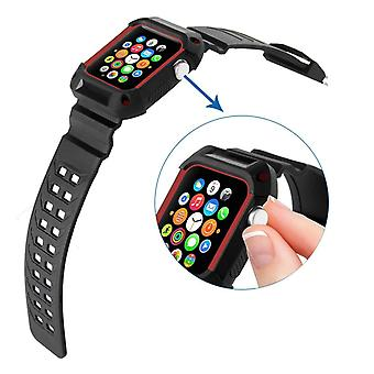 Strapsco black rubber strap w/ built in protective case for apple watch