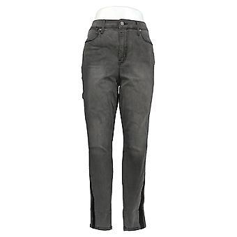 Colleen Lopez Women's Jeans Gray Skinny Tuxedo Stripe Cotton 716-641