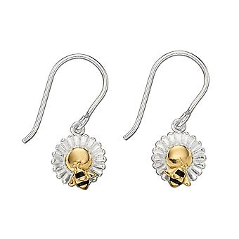 Elements Silver 925 Sterling Silver Ladies 'Save the Bees' Bee and flower Dangle Hook øreringe