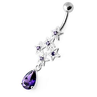 Purple Gemstone Trendy Multi Sparking Star Design Sterling Silver Belly Bars Piercing