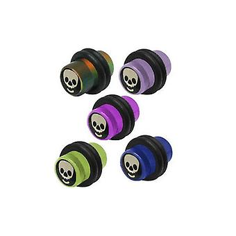 Pair of acrylic skull logo 0g ear plugs - 5 colors available