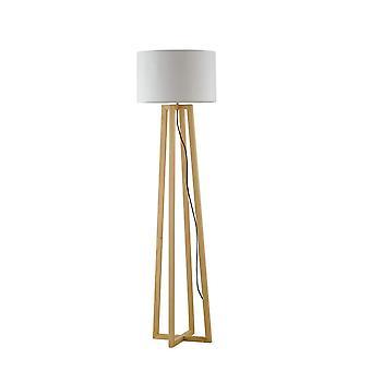 Statieflamp met stoffentint, natuurlijk hout, wit, E27