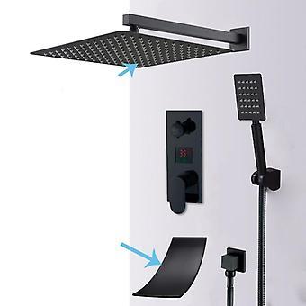 Matte Black Led Digital Display Shower Faucet Set