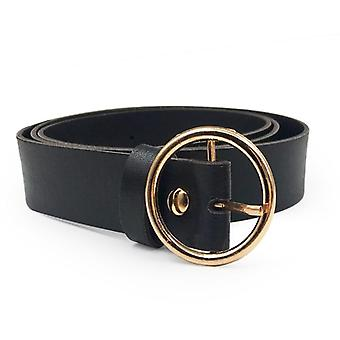 Women Leather Belt Fashion Round Metal Buckle Lady Adjustable Belts