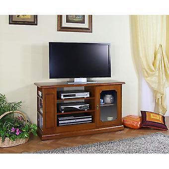 Puerta de TV de madera con ventana y estantes