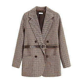 Houndstooth Women Blazer Sashes Double-breasted, Plaid Female Suit Jacket, Long