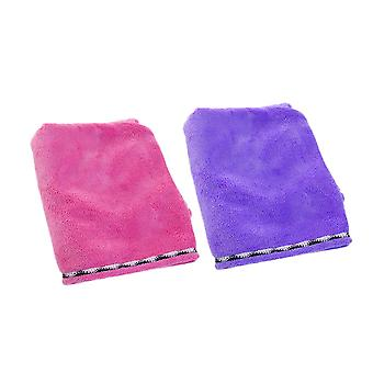 2pcs 66x25cm Dry Hair Cap with Buttons for Women Dry Hair Hat Pink Purple