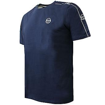 Sergio Tacchini camiseta de plumas para hombre tapado logo top navy 38536 200