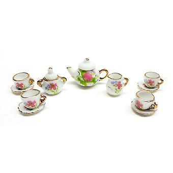 בית הבובות סט תה אנגלי אביזר לחדר אוכל זהב