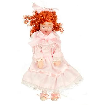 Dolls House Victorian Little Girl With Ringlets In Pink Dress Porcelain People