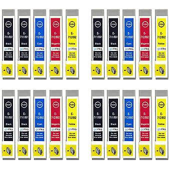4 Sett med 4 + ekstra svarte blekkpatroner for å erstatte Epson T0715 +711 Kompatibel / ikke-OEM fra Go Blekk (20 blekk)