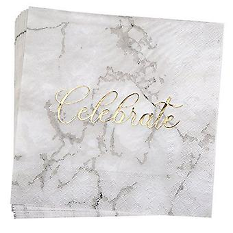 Scripted Marble Celebrate Paper Napkins Party x 16