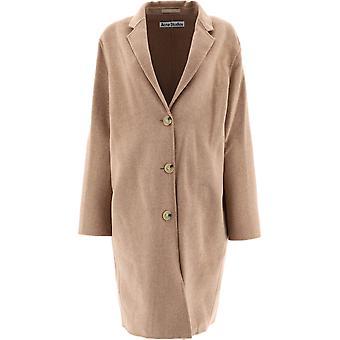 Acne Studios A90339camelmelange Women's Beige Wool Coat