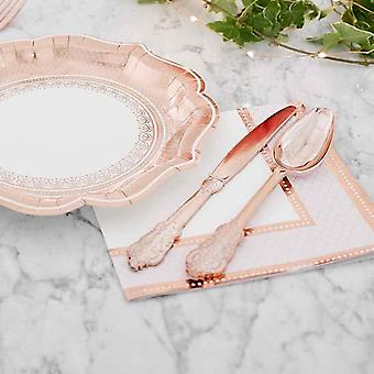 Rose Gold Edged Paper Napkins | Birthdays Weddings Party Tableware Decorations