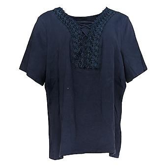 Denim & Co. Women's Top Textured Knit With Lace Trim Blue A367908