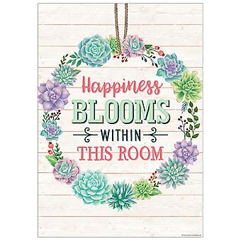 Happiness Blooms Within This Room Positive Poster