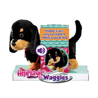 Animagic 'my wiggling walking pup' called waggles, interactive, real life like dog toy which walks a