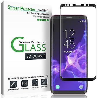 Galaxy s9 screenprotector glas, amfilm full cover (3d gebogen) gehard glas screenprotector met