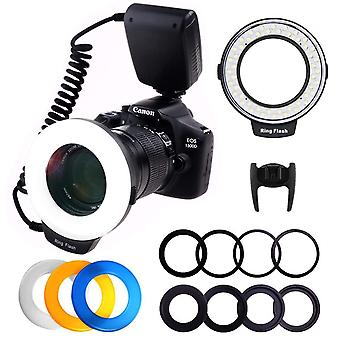 Ploture flash light with lcd display adapter rings and flash diff-users for canon nikon and other ds