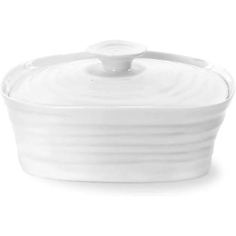 Portmeirion Home & Gifts Covered Butter Dish, Porcelain, White, 12 x 15.5 x 6 cm