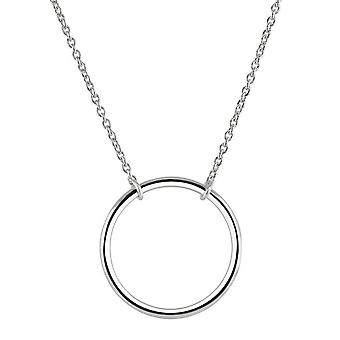 Dew Sterling Silver Plain Medium Circle 17 Necklace 98172HP028
