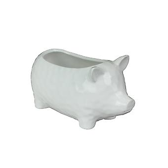 Country White Ceramic Pig Decorative Planter 10 Inches Long Farmhouse Plant Pot