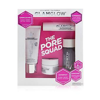 Glamglow The Pore Squad Set: 1x Supercleanse Clearing Cream-To-Foam Cleanser - 30g/1oz + 1x Superserum 6-Acid Refining Treatment - 10ml/0.34oz + 1x Supermud Clearing Treatment - 15g/0.5oz +  1x Supertoner Exfoliating Acid Solution - 30ml/1oz 4pcs