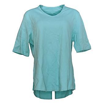Isaac Mizrahi en direct! Femmes-apos;s Top Essentials V-Neck Elbow Sleeve Bleu A289635
