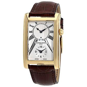 Frederique Constant Carree Silver Dual Time Dial Men's Watch FC-205MS4C25