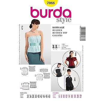 Burda Sewing Pattern 7088 - Misses Bustier Top Sizes: 6-22 E 32-48
