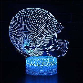 3D Optisk illusionslampa LED Night Light, 7 färger Touch Bedside Lamp Bedroom Table Art Deco Child Night Light med USB Cable Novelty Christmas Birthday Gift-American fotbollshjälm # 371
