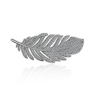 Fashion Leaf Feather 925 Sterling Zilveren Broches Corsages Met Glanzend Kristal