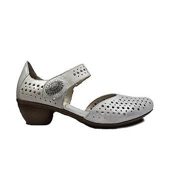 里克 43766-90 银皮革女撕磁带夏季鞋
