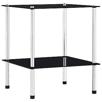 vidaXL Shelf with 2 shelves Black 40x40x47 cm tempered glass
