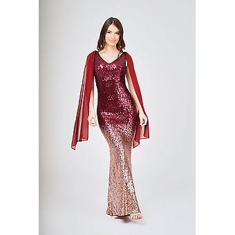 Two-tone shoulder shawl sleeveless sequin maxi dress