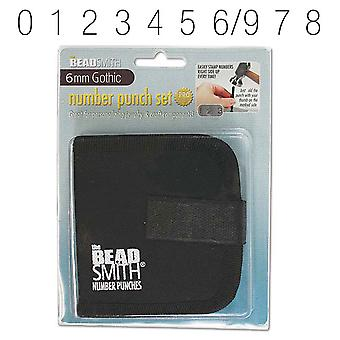 Final Sale - The Beadsmith 9 Piece Gothic Numbers 0-9 Metal Punch Set - 6mm Characters