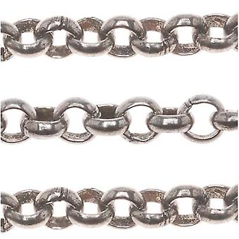 Antiqued Silver Plated Rolo Chain, 3.5mm, by the Foot