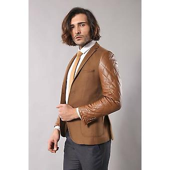 Leathered sleeve quilted tan blazer