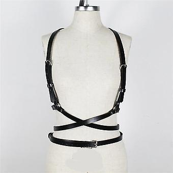 Women Sexy Leather Body Bondage Cage Sculpting Harness Waist Belt