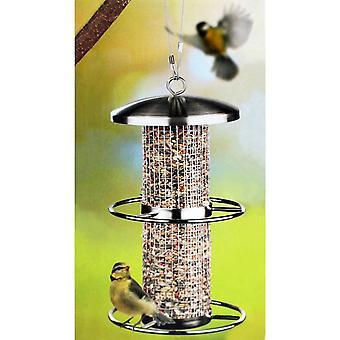 Edelstahl Vogelfutterstation 14xH27.5cm Futterspender Futtersäule Futterstelle mit 2 Sitzringen