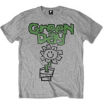 Green Day Flower Pot Mens Grey T Shirt: Large