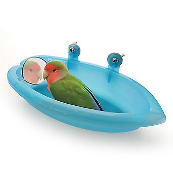 Papageienbadewanne mit Spiegel Haustierkäfig Zubehör Vogelspiegel Badewanne Duschbox Vogelkäfig Haustier Kleiner Vogel Papageienkäfig Vogel Spielzeug