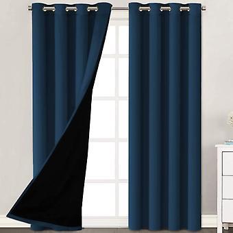 2X cortinas 100% opaqueadas paneles de cortina de ventana, cortinas de bloqueo de calor y luz completa con revestimiento negro para vivero, marina de guerra