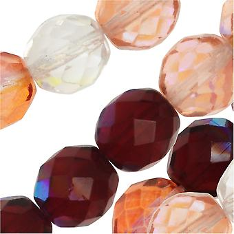 Czech Fire Polished Glass Beads, Faceted Round 10mm, 50 Pieces, Strawberry Fields Mix