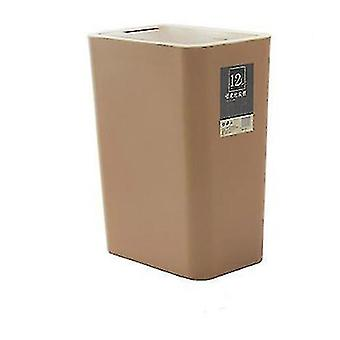 12 liters sorting trash can, rectangular plastic household trash can with lid(Brown)
