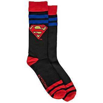 Superman Stripes and Symbols Crew Socks
