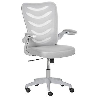 Vinsetto Mesh Office Chair for Home Swivel Task Desk Chair with Lumbar Back Support, Flip-Up Arm, Adjustable Height, Grey