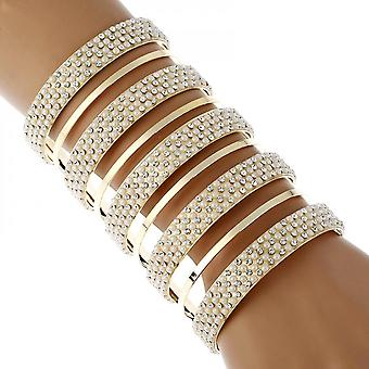 Inseparable Open Five-layer Bangle For Rhinestone Crystal And Pearl