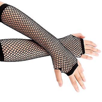 Neon Fishnet Fingerless Long Gloves Leg Arm Cuff Party Wear Fancy Dress